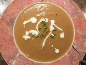 Roasted Squash Soup with Apple and Brie