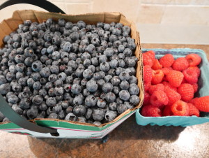 Fresh wild blueberries and cultivated raspberries
