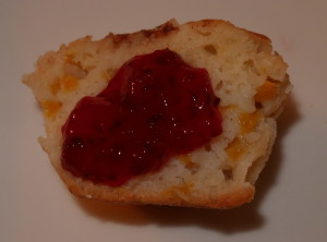 Plum Jam served on a Peach Muffin