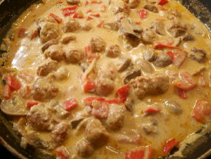Farfalle Sausage and Mushrooms add the cream and cheese