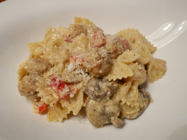 farfalle with sausages and mushrooms